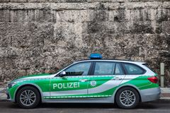 BMW from the Bavarian State police polizei taken in Munich. The Bavarian State Police is in charge of law enforcement Royalty Free Stock Photography