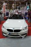 BMW Cabrio wystawiający przy 3rd wydaniem MOTO przedstawienie w Krakow obrazy royalty free