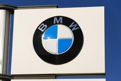 BMW car company logo in front of dealership building on March 31, 2017 in Prague, Czech republic Stock Image