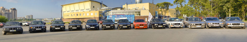 Bmw cars. The gathering of lovers of the Bavarian bmw cars on Krestovsky island in St. Petersburg Royalty Free Stock Photo