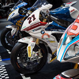 BMW competition motorbikes at EICMA 2013 in Milan, Italy Stock Image