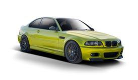 BMW-coupé zijaanzicht op wit wordt geïsoleerd dat royalty-vrije stock afbeelding