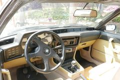 BMW 635 CSI Coupe interior exhibited at south of Lima. Lima, Peru. November 11, 2017. inside beige and black view of a blue mint condition BMW 635 CSI coupe Royalty Free Stock Images