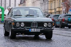 BMW 3.0 CSi oldtimer car. Augsburg, Germany - October 1, 2017: BMW 3.0 CSi oldtimer car at the Fuggerstadt Classic 2017 Oldtimer Rallye on October 1, 2017 in Stock Image