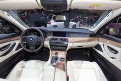 BMW 530d xDrive Touring car interior. GENEVA, SWITZERLAND - MARCH 4, 2015: BMW 530d xDrive Touring car interior view at the 85th International Geneva Motor Show Stock Photo