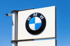 BMW dealership sign against blue sky Royalty Free Stock Photos
