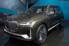 BMW X7 on display during LA Auto Show. Los Angeles, USA - November 30, 2017: BMW X7 on display during LA Auto Show at the Los Angeles Convention Center royalty free stock image