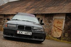Bmw e36, autumn, girlcar, darkly. Bmw e36 1991, sedan, driftcar, autumn in Latvia, darkly cute Royalty Free Stock Photos