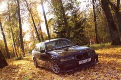 Bmw e36, autumn, girlcar, darkly. Bmw e36 1991, sedan, driftcar, autumn in Latvia, darkly cute Royalty Free Stock Image