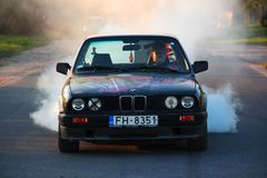 Bmw e30. Burnout smoke drift Royalty Free Stock Photo