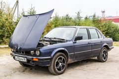 BMW E30 324d. Novyy Urengoy, Russia - August 2, 2013: Motor car BMW E30 324d at the roadside Royalty Free Stock Photo