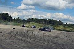 BMW E34, E36 DRIFT LATVIA. Drift day in Latvia, Jekabpils. BMW E34, E36 tandem drift Royalty Free Stock Photography