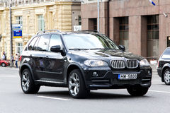BMW E70 X5. MOSCOW, RUSSIA - JUNE 2, 2013: Motor car BMW E70 X5 at the city street stock photos