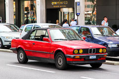 BMW E30 3-series. LA CONDAMINE, MONACO - AUGUST 2, 2014: Motor car BMW E30 3-series in the city street Royalty Free Stock Photo