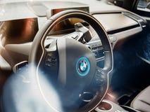 BMW electric car interior view stock photos
