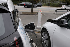 BMW ELECTRIC VEHICLE. 06 October 2016- German brand BWM electricial vehicle at recharge station   Copenhagen /Denmark /vehcile at recharge booth Photo. Francis Royalty Free Stock Photo