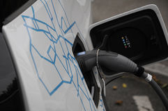 BMW ELECTRIC VEHICLE. 06 October 2016- German brand BWM electricial vehicle at recharge station   Copenhagen /Denmark /vehcile at recharge booth Photo. Francis Stock Images