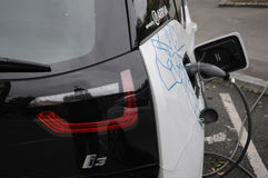 BMW ELECTRIC VEHICLE. 06 October 2016- German brand BWM electricial vehicle at recharge station   Copenhagen /Denmark /vehcile at recharge booth Photo. Francis Stock Photo