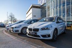 BMW emblem på en bmw-bil royaltyfri foto