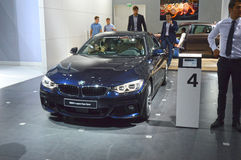 BMW fourth series Gran Cupe Dark Blue Color Moscow International Automobile Salon Stock Photos