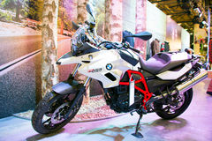 BMW GS motorcicle at motorshow Royalty Free Stock Photos