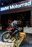 BMW GS Motorcycle in Booth BMW Motorrad. Royalty Free Stock Photos