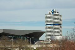 BMW Headquarters Münich, Germany. Outside view of the Four-Cylinder building and BMW Museum, Münich, Germany Royalty Free Stock Photos