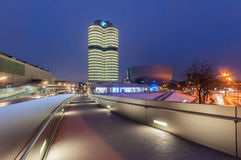 BMW Headquarters in Munich, Germany. Munich, Germany : The BMW Headquarters in München, during a winter night Royalty Free Stock Photography