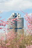 BMW headquarters tower office building in spring blossoming Olympiapark Stock Photography