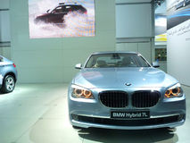 BMW Hybrid 7L. On display during Dubai Motor Show 2009 at Dubai Int'l Convention and Exhibition Centre December 19, 2009 in Dubai, United Arab Emirates Royalty Free Stock Image