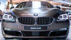BMW 640i一前面viewf在慕尼黑BMW世界的  免版税库存图片