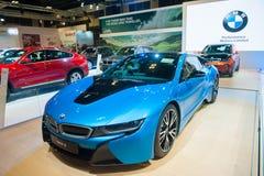 BMW i8在新加坡Motorshow 2015年 免版税图库摄影