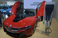 BMW i8质子的红色编辑电sportscar 图库摄影