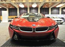 BMW I8跑车正面图 免版税图库摄影