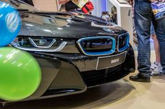 BMW i8 Automobile fair in Barcelona, Catalonia, Spain. Automovil, brand, car, concept, dealer, drive, electric, electrical, luxury, model, motor, new, salon stock photography