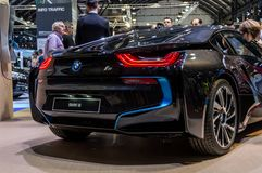BMW i8 Automobile fair in Barcelona, Catalonia, Spain. Automovil, brand, car, concept, dealer, drive, electric, electrical, luxury, model, motor, new, salon royalty free stock photography