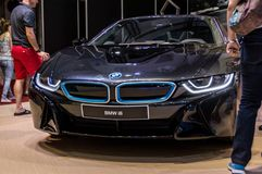 BMW i8 Automobile fair in Barcelona, Catalonia, Spain. Automovil, brand, car, concept, dealer, drive, electric, electrical, luxury, model, motor, new, salon royalty free stock images