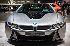 BMW i8 Coupe sports car. GENEVA, SWITZERLAND - MARCH 7, 2018: Front view of a BMW i8 Coupe electric sports car showcased at the 88th Geneva International Motor Stock Image