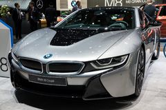 BMW i8 Coupe sports car. GENEVA, SWITZERLAND - MARCH 7, 2018: Front view of a BMW i8 Coupe electric sports car showcased at the 88th Geneva International Motor Royalty Free Stock Images