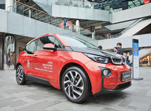 BMW i3 displayed in a commercial area, Beijing, China Stock Photo