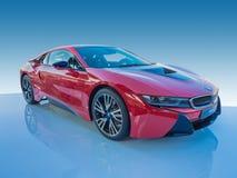 BMW i8 eléctrico/coche de motor de turbo Foto de archivo libre de regalías