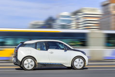 BMW i3 Electric car on the road, Beijing, China Stock Image