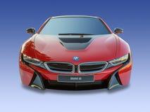 BMW i8 elkraft/motorisk bil för turboladdare som isoleras Royaltyfri Fotografi