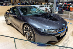 BMW i8 at the 2014 Geneva Motorshow. The BMW i8 Hybrid car at the 2014 Geneva Motorshow Stock Photo