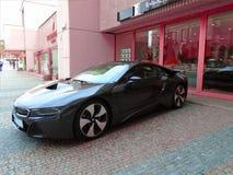 BMW I8 op de straat Stock Foto