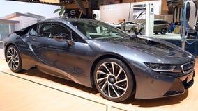 BMW i8 plug-in hybrid luxury sports car stock footage