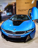 BMW i8 Plug-In Hybrid, Motor Show Geneva 2015. Royalty Free Stock Photo