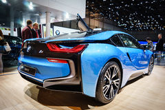 BMW i8 Plug-In Hybrid, Motor Show Geneve 2015. Royalty Free Stock Photo