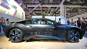 BMW i8 plug-in hybrid sports car on display at BMW World 2014 Royalty Free Stock Photos