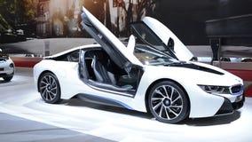 BMW i8 plug-in hybrid sports car stock footage